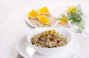 quinoa med tranebær og appelsin